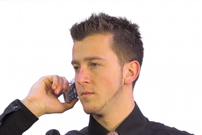 business call - serious look